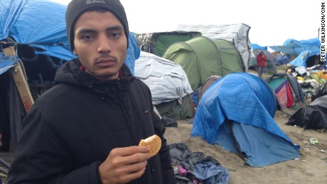 "Ahmad Ali Mostafa, from Syria: ""For two months I live in this Jungle. All my dreams I go England. All this people want to go England. All understand England is good."""
