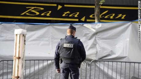 A police officer stands guard outside the Bataclan on Wednesday, November 18.