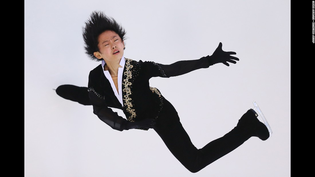 Japanese figure skater Koshiro Shimada performs his short program Friday, August 21, at a Junior Grand Prix event in Bratislava, Slovakia.