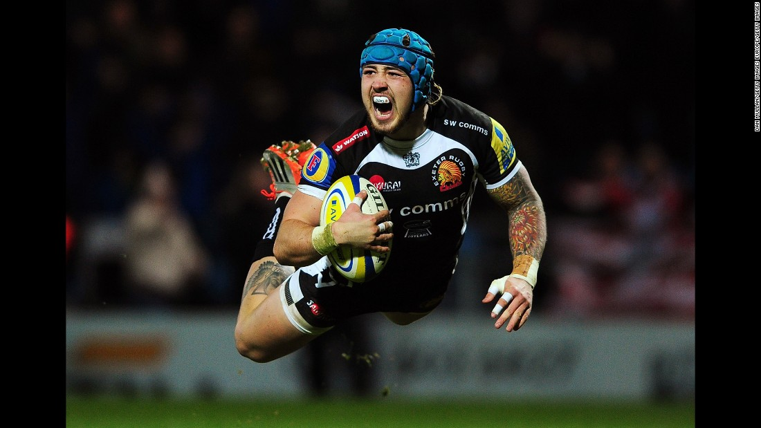 Jack Nowell of the Exeter Chiefs dives for his team's first try during a Premiership match Saturday, January 3, in Exeter, England.