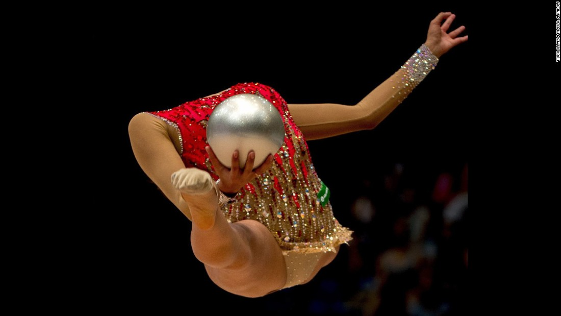 Margarita Mamun, a rhythmic gymnast from Russia, performs the ball exercise Sunday, August 9, at the World Cup event in Budapest, Hungary. The Russian placed second.