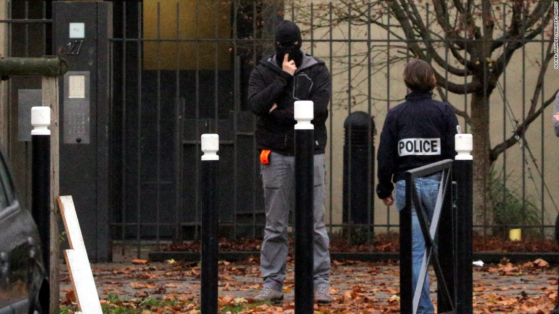 Police searched the home of Hasna Ait Boulahcen's mother in Aulnay-sous-Bois, France, on Thursday, November 19. Ait Boulahcen, 26, was killed during Wednesday's raid on an apartment in the Paris suburb of Saint-Denis, official sources in France told CNN. She did not blow herself up as was previously thought.