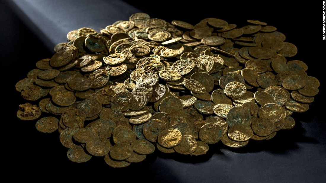 "In January 2016, over 4,000 Roman coins were <a href=""http://edition.cnn.com/2015/11/20/luxury/roman-coins-switzerland-farmer/"">discovered</a> by a fruit and vegetable farmer on a molehill in his cherry orchard in Switzerland."