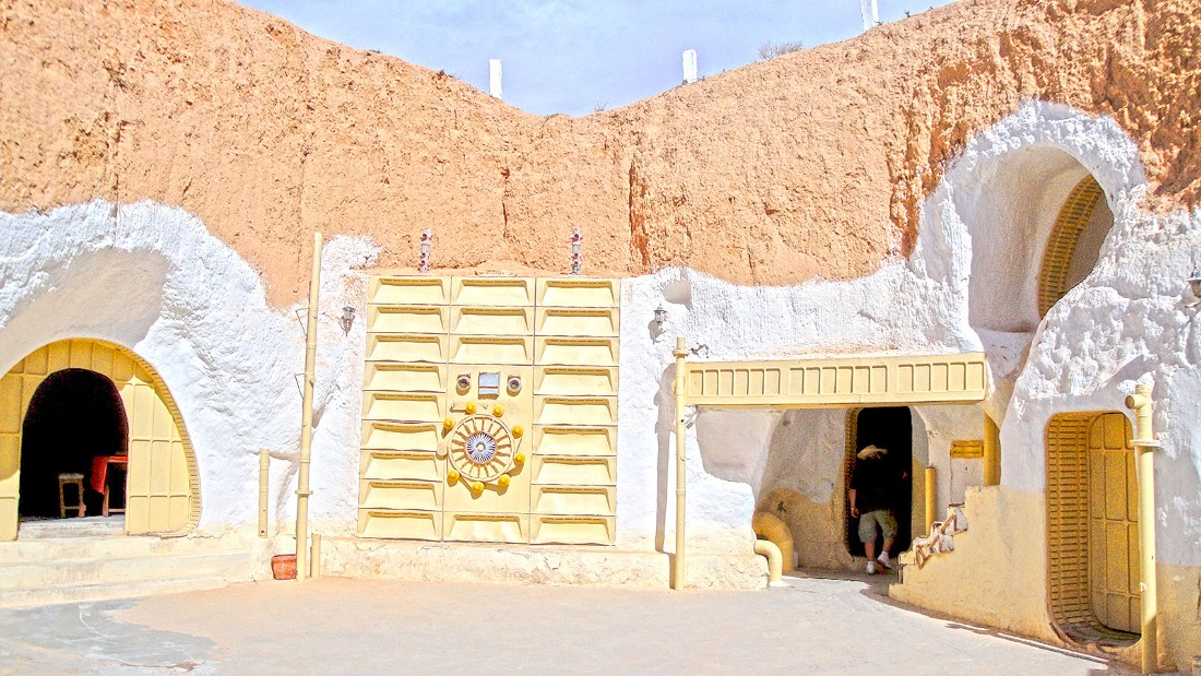 "Built centuries ago by indigenous Berbers, this subterranean cave homes were converted to a hotel which George Lucas used as Luke Skywalker's childhood home in the original ""Star Wars"" film. It's still a hotel and contains props used in ""Attack of the Clones."""