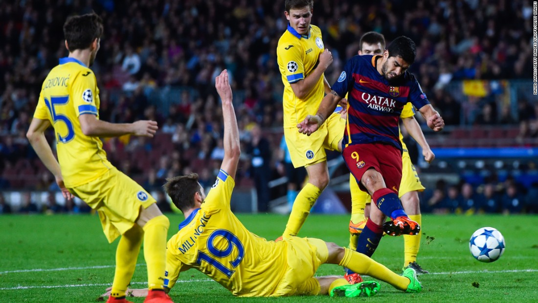 <strong>November 4, 2015:</strong> Luis Suarez slots home the second goal in a 3-0 win over BATE Borisov in the Champions League.