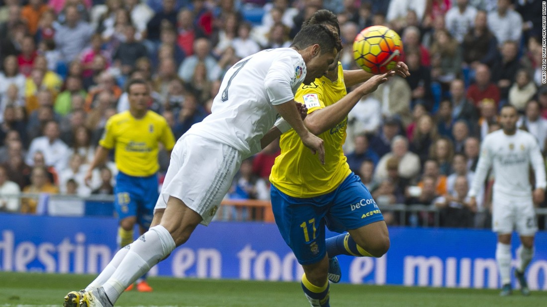 <strong>October 31, 2015:</strong> Cristiano Ronaldo heads home Real Madrid's second goal in a 3-1 win over Las Palmas. He has failed to score in his subsequent three matches and will be looking for a return to form against Shakhtar Donetsk in the Champions League.