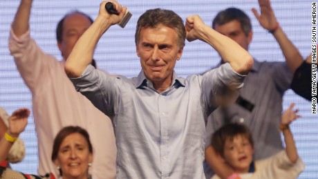 BUENOS AIRES, ARGENTINA - NOVEMBER 22:  Opposition presidential candidate Mauricio Macri celebrates after defeating ruling party candidate Daniel Scioli in a runoff election on November 22, 2015 in Buenos Aires, Argentina. Argentina faced its first presidential election runoff in the history of the country with Macri winning decisively ending 12 years of Peronist rule.  (Photo by Mario Tama/Getty Images,)