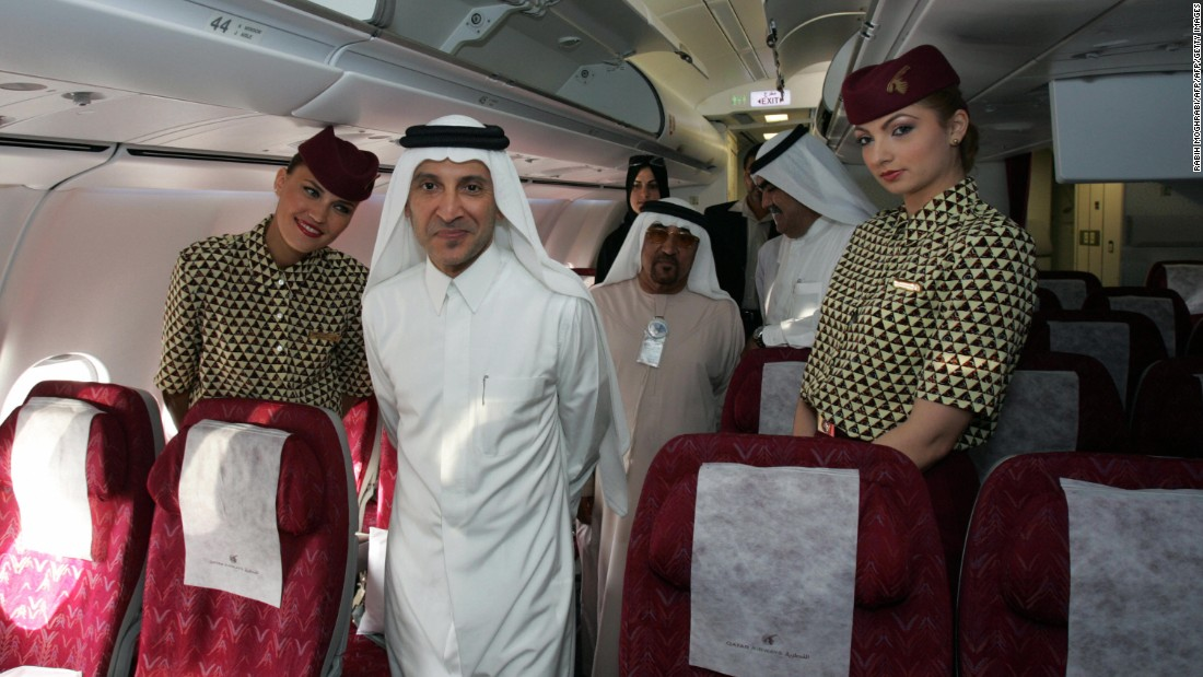 """""""As a huge airplane geek, sitting in the cabin with the CEO of Qatar Airways -- Akbar Al Baker, pictured center -- was pretty damn cool,"""" said Schlappig.<br /><br />""""He was kind of a hero, someone who's always been very interesting to me."""""""