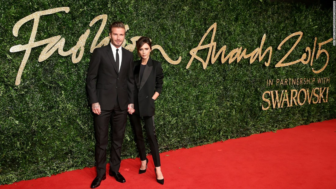 Womenswear Designer of the Year nominee Victoria Beckham and David Beckham.