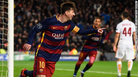 The returning Lionel Messi of Barcelona celebrates scoring his team's second goal against Roma.