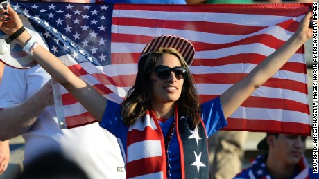 PASADENA, CA - OCTOBER 10: A fan of the United States holds an American flag inside the Rose Bowl before the start of 2017 FIFA Confederations Cup Qualifier at Rose Bowl on October 10, 2015 in Pasadena, California. (Photo by Kevork Djansezian/Getty Images)