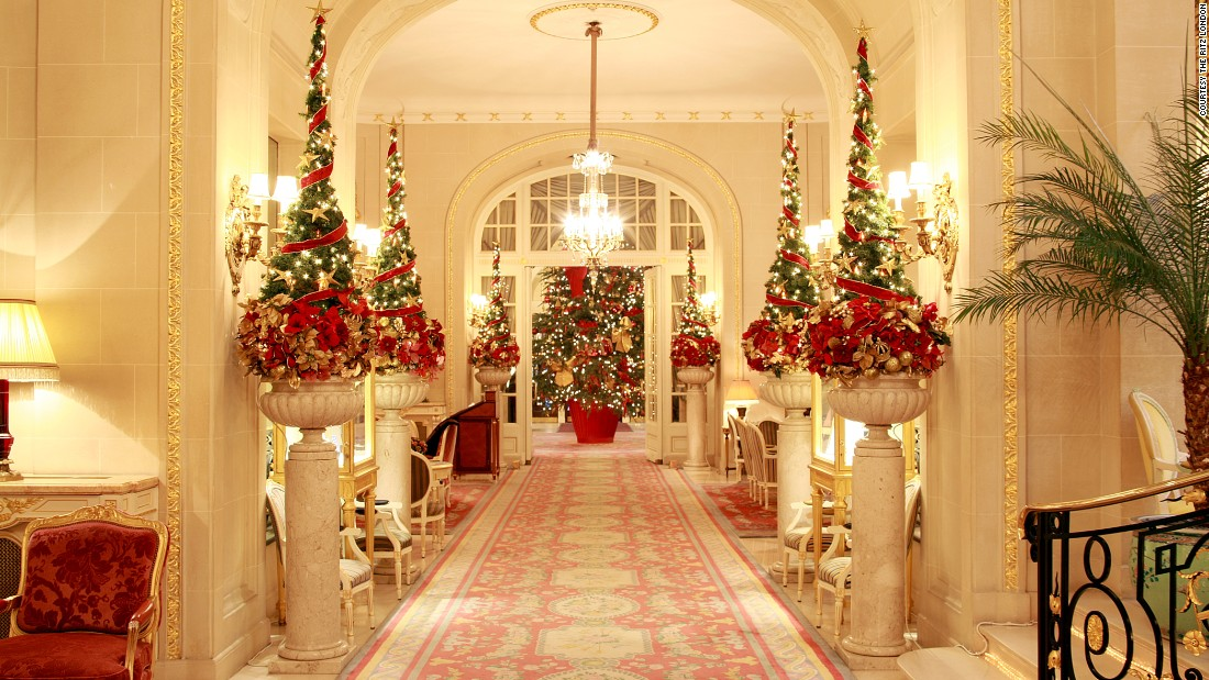 In London, The Ritz amps up its red and gold for the holidays. Gala dinners with dancing are held on Christmas Eve and Christmas Day.