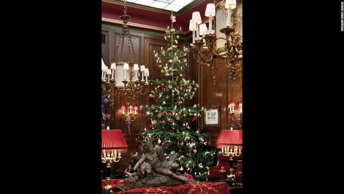 Traditional Christmas decorations complement the hotel's ornate interiors.