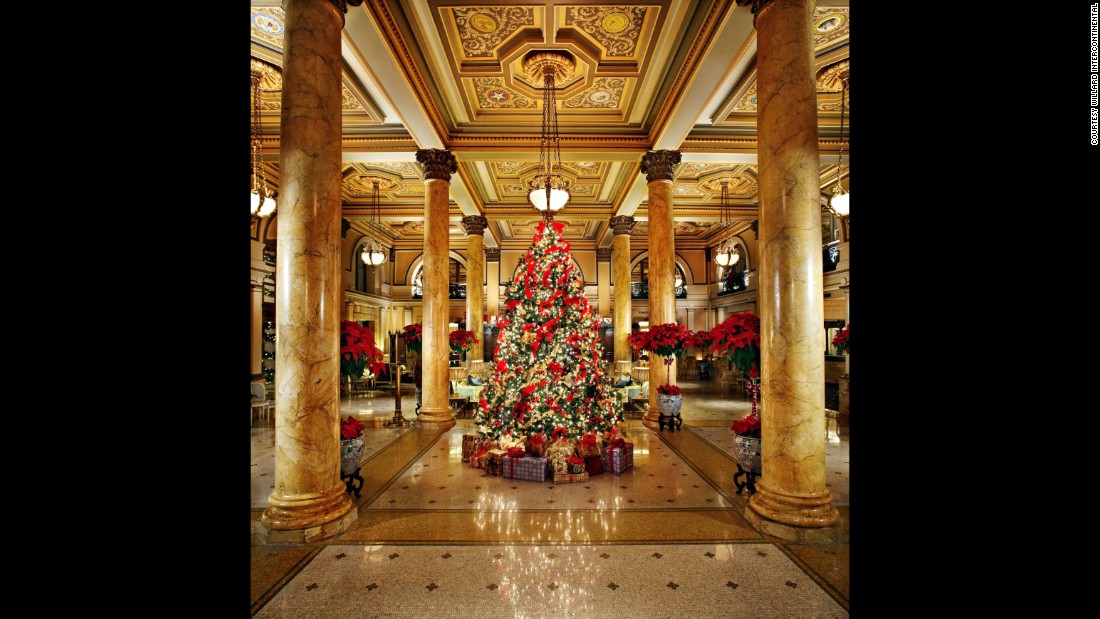The Willard InterContinental in Washington displays White House Christmas ornaments on its stunning lobby tree.