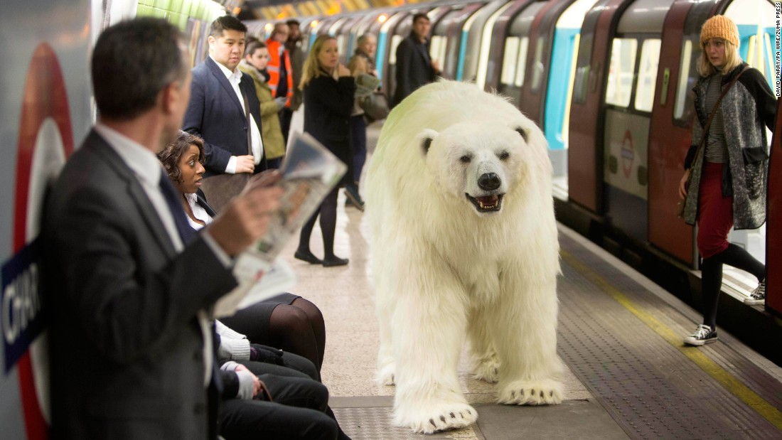 "<strong>January 27:</strong> An animatronic polar bear visits the London Underground to mark the launch of ""Fortitude,"" Sky Atlantic's new TV drama."