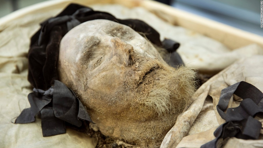 "<strong>April 10:</strong> The mummified body of Peder Winstrup, former bishop of Lund, Sweden, is exhibited to the press after it had been examined by experts in Lund. The research team said the body from the 1600s is one of the best-preserved in Europe, <a href=""http://sverigesradio.se/sida/artikel.aspx?programid=2054&artikel=6138356"" target=""_blank"">according to Radio Sweden.</a>"