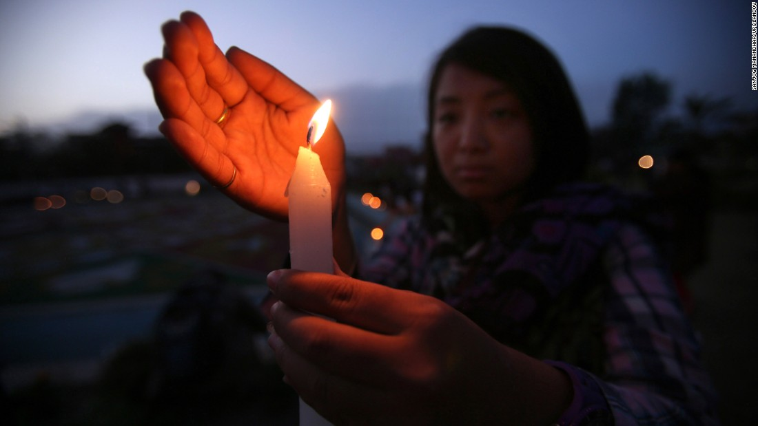 <strong>May 1: </strong>People in Kathmandu, Nepal, hold a candlelight vigil for victims of the earthquake that hit the country a week before.