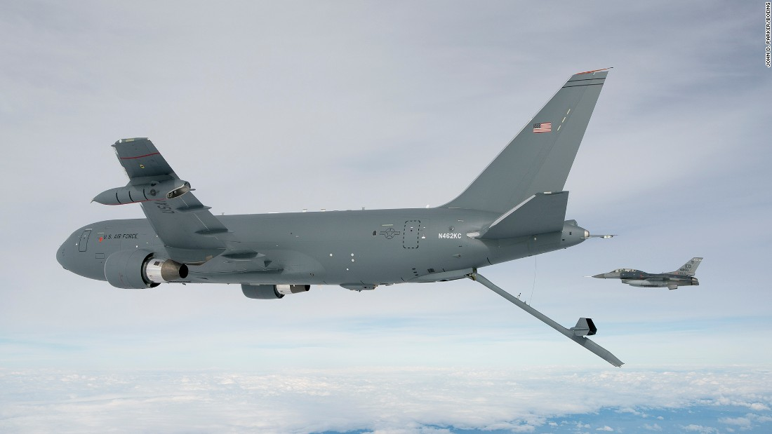 "The U.S. military is developing the Boeing KC-46 refueling tanker to replace the aging KC-135 fleet now in use. <br /> <br />The KC-46A Pegasus is designed to carry passengers, cargo and injured military personal and can ""detect, avoid, defeat and survive threats using multiple layers of protection, which will enable it to operate safely in medium-threat environments,"" according to Boeing.<br /> <br />The new KC-46A completed a successful first flight in September 2015, but the program has been criticized for schedule delays and cost overruns since the contract was awarded in 2011.<br /> <br />Boeing plans to build 179 KC-46 aircraft for the U.S. Air Force.<br /> <br />Amid criticism over schedule delays and cost overruns, several lawmakers have pledged to keep the program on track to deliver the planned amount of planes.<br /><br />Above, the Pegasus tanker deploys its centerline boom for the first time, on October 9, 2015. The boom is the fastest way to refuel aircraft, at 1,200 gallons per minute."