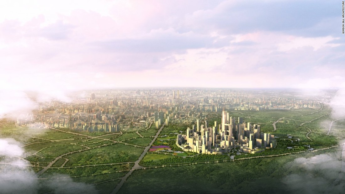 China may perform miserably overall when it comes to air pollution but by 2020, this is what Great City, a town outside of Chengdu, China is projected to look like. It's been designed so that the distance between any two points in the city should be walkable within about 15 minutes, eliminating the need for cars.