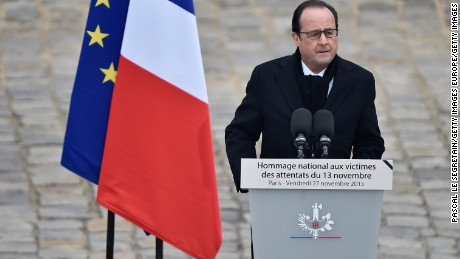 PARIS, FRANCE - NOVEMBER 27:  President of France Francois Hollande attends The National Tribute to The Victims of The Paris Terrorist Attacks at Les Invalides on November 27, 2015 in Paris, France.  (Photo by Pascal Le Segretain/Getty Images)