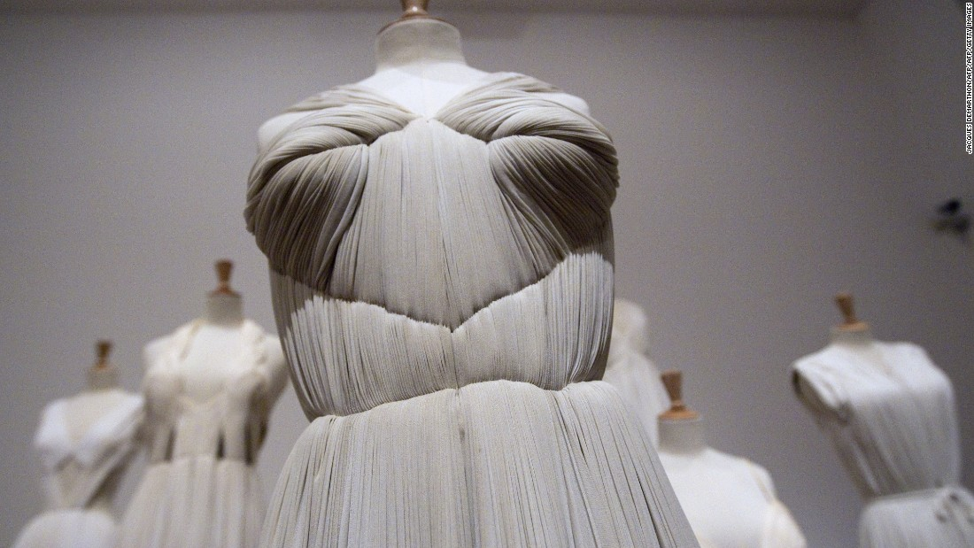 """Originally a sculptor, her silk jersey pleated dresses looked as though they had been pulled out of ancient Greece.""<br /><em><br />A 1952 Madame Gres dress displayed at the Bourdelle Museum in Paris, 2011 </em>"
