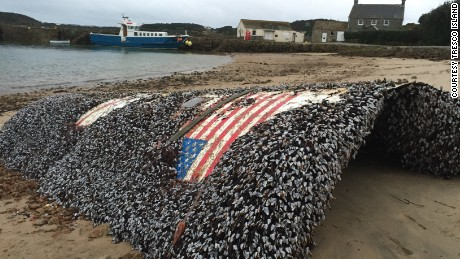 Debris from a SpaceX Falcon 9 rocket on a beach in Tresco in the Isles of Scilly in the UK.