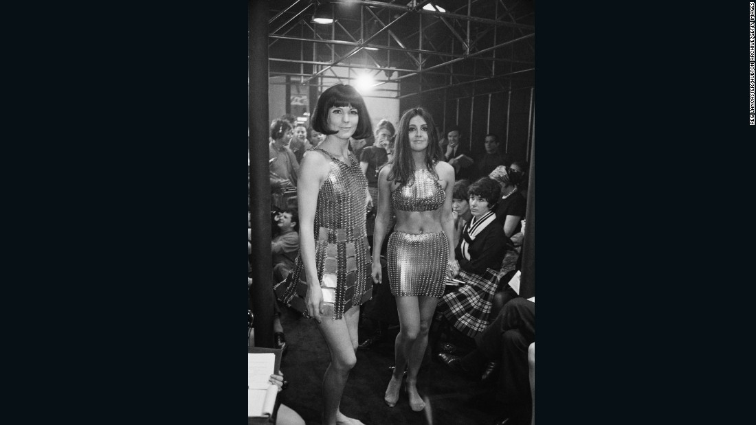 """It was everywhere, worn by all the major <em>yé-yé</em> singers -- the rock and roll girls of France — and Brigitte Bardot and Barbarella also wore Paco Rabanne."" <br /><em><br />Models wear Paco Rabanne evening dresses, 1967</em>"