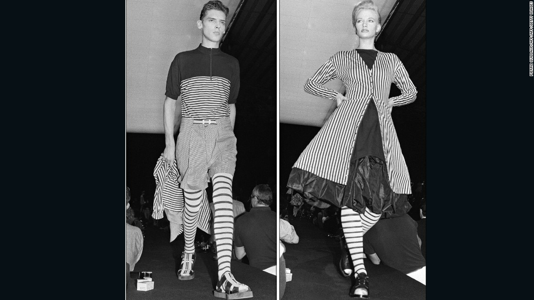 "After stints at Pierre Cardin and Jean Patou, Gaultier founded his own label in 1976. His collections often reference androgyny, punk and French history, and balance humor with impeccable craftsmanship. <br /><br />""I've always tried to be honest and push boundaries in the same way as those before,"" says Gaultier. ""I decided that when I created my own collection, I would push the limit of what's beautiful and what's not.""<br /><em><br />Models walk Jean Paul Gaultier's Spring-Summer 1987 runway, 1986 </em>"