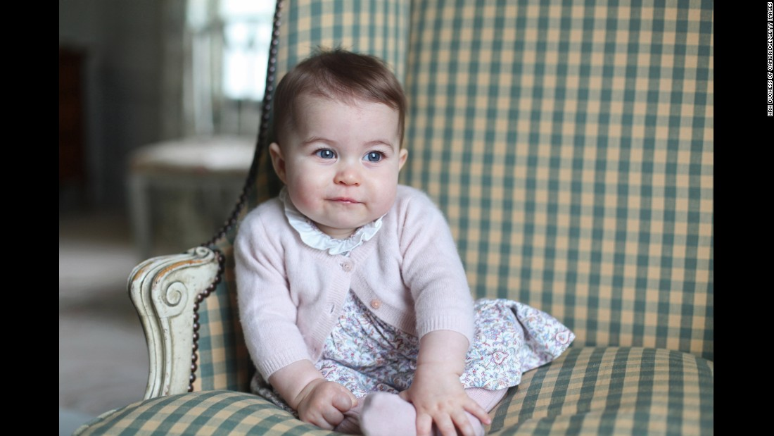 The Duchess released two photos of Charlotte taken at Anmer Hall in Norfolk, eastern England.