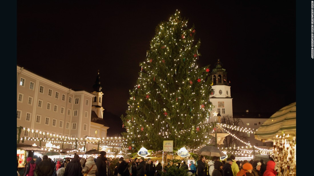 Salzburg's popular Christmas market stretches from Mozartplatz all the way to Domplatz in front of Salzburg Cathedral.