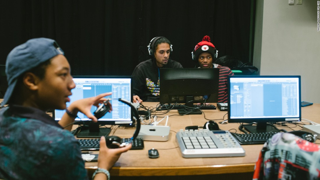 Students participate in a music production class at TRUE Skool, an afterschool program in Milwaukee that uses arts and humanities to engage high school students in social justice and community service. Over the past decade, the nonprofit has paired hundreds of black, white and Latino teens with local artists to learn how to use the arts to cope with the despair of their surroundings.