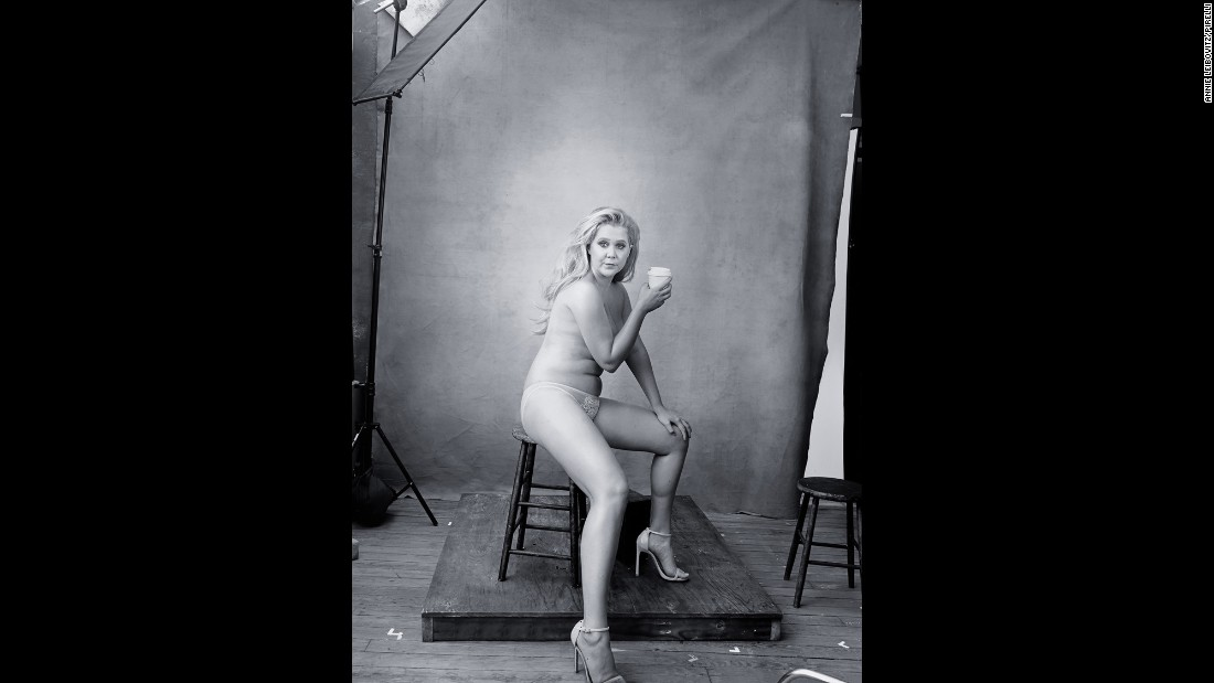 "Comedian Amy Schumer's photograph from the calendar went viral after she proudly shared it on Twitter. According to Leibovitz, she had to ask Schumer to ""put the underpants on."""