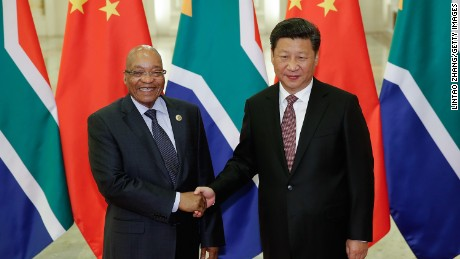 Chinese President Xi Jinping shakes hands with South African President Jacob Zuma at the Great Hall of the People on September 4, 2015 in Beijing, China. China's choice of South Africa to host the China-Africa summit underscores the special relationship between the two countries.