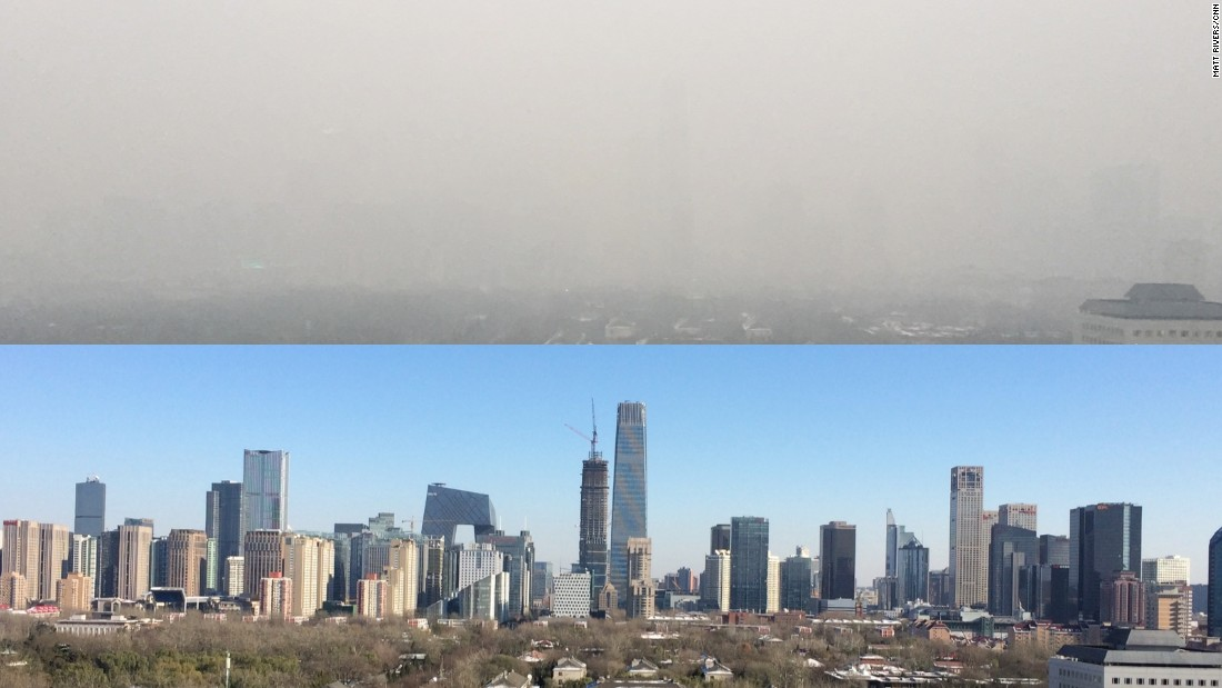 The top photo taken from CNN's Beijing Bureau, shows the city shrouded in smog on November 27, 2015, and the same view on a blue sky day just the day before.