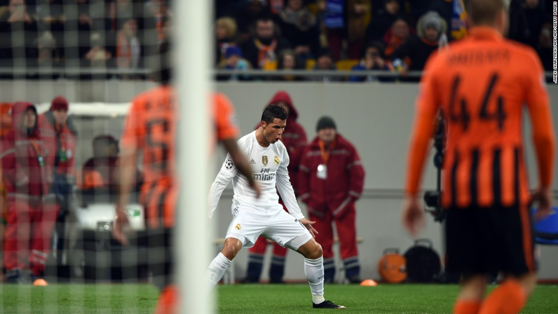 <strong>November 25, 2015: </strong>After a rare three-game drought, Ronaldo returned to scoring ways with a double as Real beat Shakhtar Donetsk 4-3 in the Champions League.