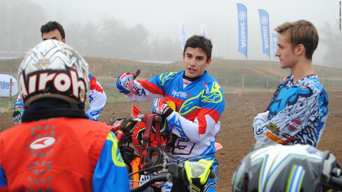 "Marquez was at the training camp for junior motorcycle riders -- part of <a href=""http://allianz-lapsforlife93.com/"" target=""_blank"">Laps for Life 93</a>, a social initiative the rider is promoting."