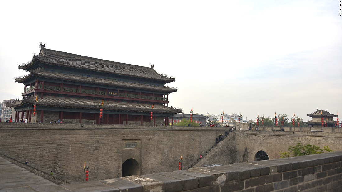 The 14-kilometer-long wall was built in the Ming Dynasty to safeguard Xi'an, a strategic capital for many Chinese dynasties. East Gate (pictured) is one of four original gates.