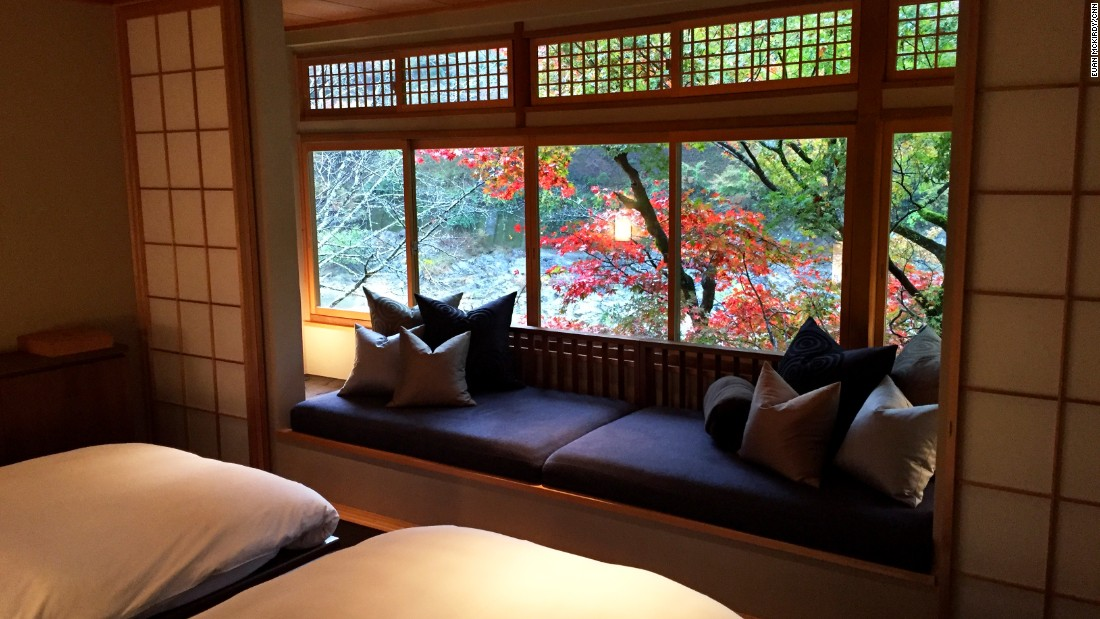 "Every guest room features traditional ""karakami"" paper furnishings. These are created by Kyoto artisans using historic woodblock print patterns."