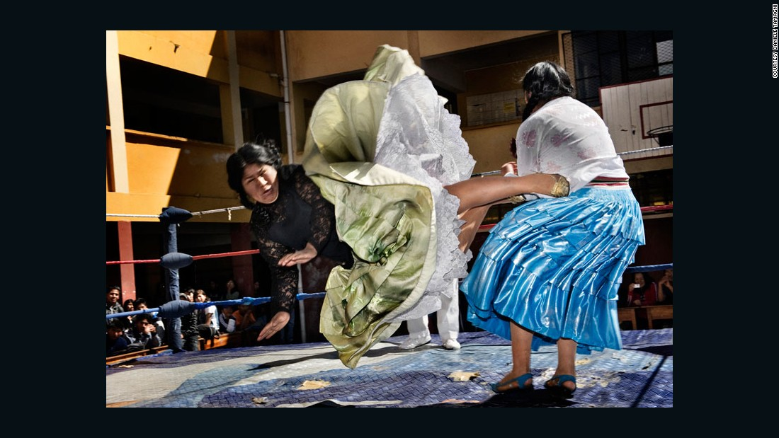 The wrestling Flying Cholitas juxtapose their dangerous moves with traditional feminine garb.