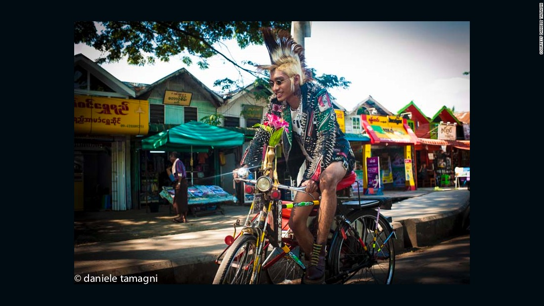 "Chaos in Burma (C.I.B.) lead singer Einstein Mc King Skunk is one of the best known of Myanmar's punks. ""I love my punk style. It defines my identity as an anarchist and as being against the rules that are imposed by society,"" he says in an essay by journalist Peter Popham."