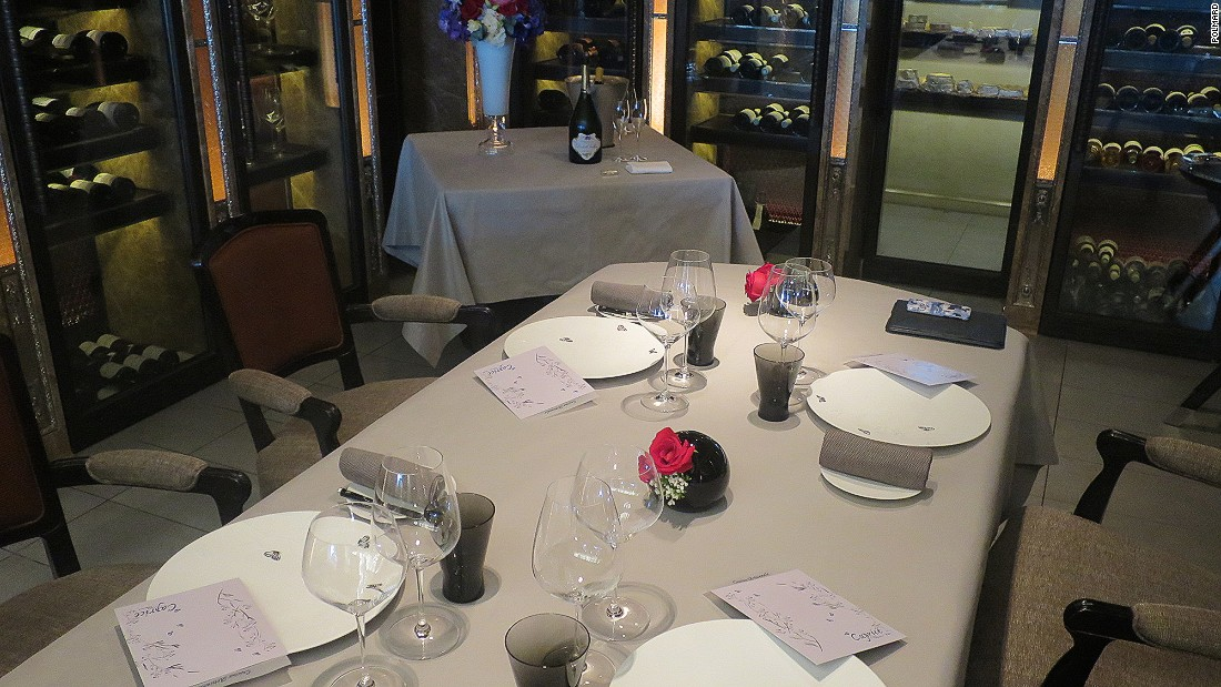 The lunch, which cost $700 per person -- not including wine -- was served at Caprice's chef's table, which looks onto the kitchen and sits within the restaurant's famed wine room and adjacent cheese cellar.