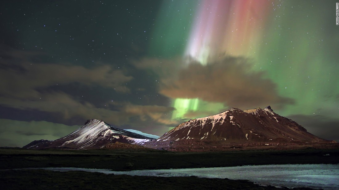 Northern lights beam over Akrafjall in Iceland's western region. West Iceland was recently named by Lonely Planet as one of the best destinations to visit in 2016. Photo by Finnur Andresson
