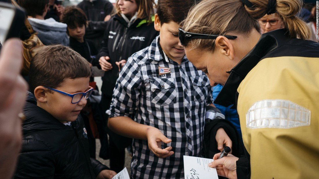 Bertarelli took time to sign autographs for the budding generation of potential Jules Verne Trophy winners prior to her departure with Guichard.