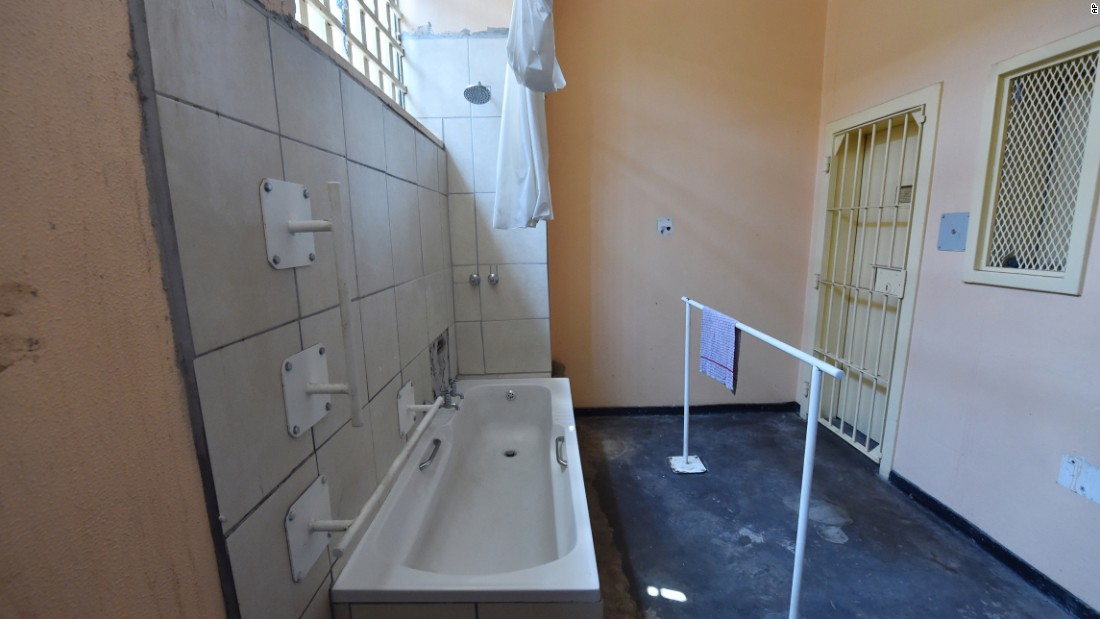 The bathroom at the Pretoria prison where Pistorius was held.