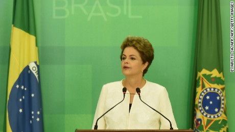 President Dilma Rousseff delivers a televised address on Wednesday after the impeachment announcement.