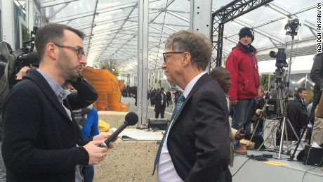 CNN's John Sutter speaks with Bill Gates at the climate change conference.