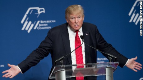 Republican Presidential hopeful Donald Trump speaks during the 2016 Republican Jewish Coalition Presidential Candidates Forum in Washington, DC, December 3, 2015.