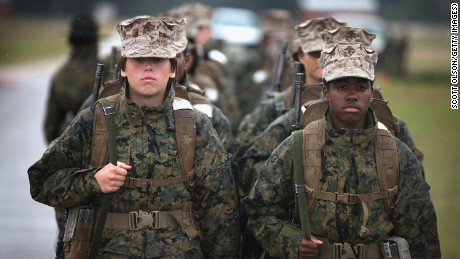 Female Marine recruits prepare to fire on the rifle range during boot camp February 25, 2013 at MCRD Parris Island, South Carolina.