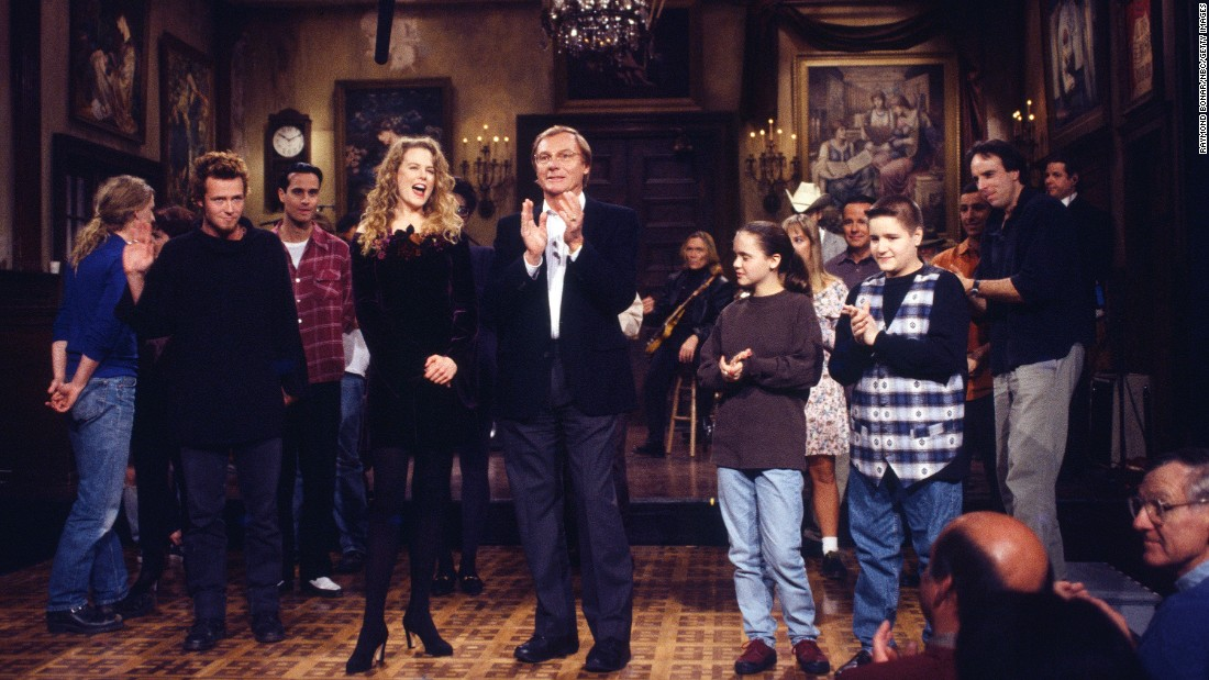 "In November 1993, the band was the musical guest on ""Saturday Night Live."" From left, Weiland, Nicole Kidman, Adam West, Christina Ricci and Jimmy Workman on the set of the November 20, 1993, episode."