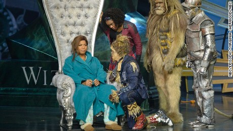 "Queen Latifah as The Wiz, Shanice Williams as Dorothy, Elijah Kelley as Scarecrow, David Alan Grier as Lion, and Ne-Yo as Tin-Man  in ""The Wiz Live."""